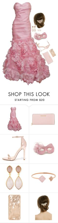 """Floral masquerade"" by theater-potter-dance-warriors ❤ liked on Polyvore featuring Monique Lhuillier, MICHAEL Michael Kors, Liliana, Masquerade, Dina Mackney, Michael Kors and RTR Bridal Accessories"