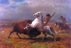 Title:  Hunting Buffalo - Albert Bierstadt