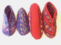 Customer Order Slipper Socks... Mother ~ 'Red with splashes of Rainbow'. Daughter ~ 'Shades of Purple'. Handmade Crocheted Slippers.