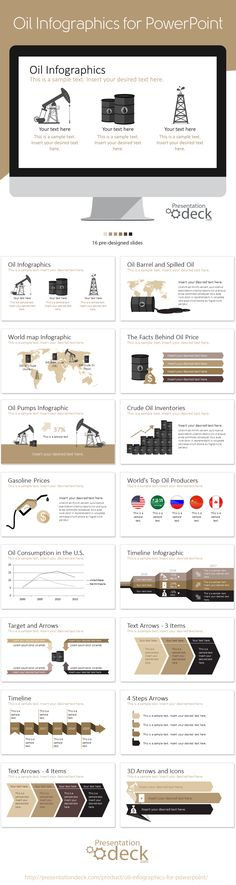 Oil Infographics for PowerPoint with 16 pre-designed slides. #presentation, #powerpoint #powerpoint_template