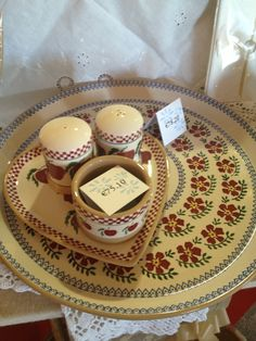 More ideas for weddings - an Apple medium heart plate with salt & pepper cruets + ramekin - underneath a presentation platter in Old Rose. Irish Pottery, Pottery Making, Pottery Bowls, Platter, Kitchenware, Wedding Gifts, Ireland, Salt, Presentation
