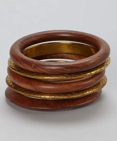 Take a look at this Brown & Gold Wood Bangle Set on zulily today!