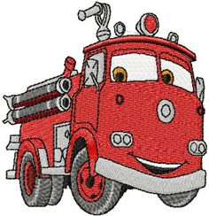 Shoply.com -Cars Red Fire Engine Machine Embroidery Design in 4 sizes - MUST SEE. Only $3.99