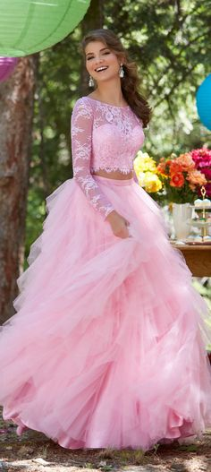 Two Piece Long Sleeves Pink Lace Tulle Prom Dress Formal Evening Gown