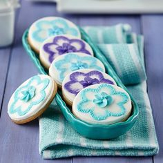 Easy Fancy Floral Cookies: Use our Blossom Double Cut-Outs Set to create your design, then add a brush embroidered flourish!
