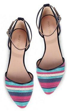Striped Pointy Toe Flats