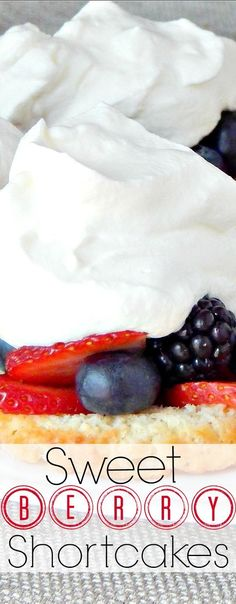 Bursting BERRY SHORTCAKES are one of my favorite desserts (or even breakfast).  Fresh, plump berries on a sweet shortcake and smothered with sweet, fluffy whipped cream make this a simple, yet amazing treat.    www.SugarBananas.com