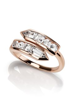 24 Unique Engagement Rings Under $3000 - JANE TAYLOR CIRQUE ARROW BYPASS RING (=)