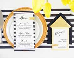 Bold Stripes Gold Glitter Invitation and by PinkChampagnePaper, $3.60