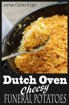 Cheesy Funeral Potatoes Dutch Oven Cheesy Funeral Potatoes from Jamie Cooks It Up!Dutch Oven Cheesy Funeral Potatoes from Jamie Cooks It Up! Oven Cheesy Potatoes, Dutch Oven Potatoes, Cheese Potatoes, Cast Iron Cooking, Oven Cooking, Cooking Dishes, Cast Iron Dutch Oven, Dutch Oven Camping, Dutch Oven Meals