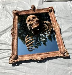 Picture Of a chic skeleton mirror for Halloween decor Casa Halloween, Theme Halloween, Halloween 2020, Holidays Halloween, Halloween Crafts, Happy Halloween, Haunted Halloween, Scary Halloween Decorations, Outdoor Halloween