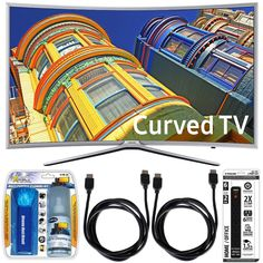 Samsung UN55K6250 - Curved 55-Inch 1080p Full HD LED Smart TV w/ Accessory Bundle includes TV, Performance TV Screen Cleaning Kit, 6 Outlet Power Strip with Dual USB Ports and 2 HDMI Cables Sale