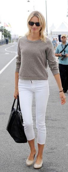 Karolina Kurkova- white jeans w/a neutral sweater & nude ballet flats