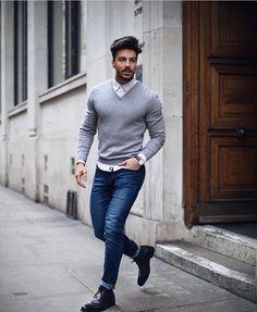 5 Shades Medium Skin Men Should Avoid Wearing - Men's Fashion - Denim Fashion Mens Fashion Sweaters, Mens Fashion Suits, Denim Fashion, Street Fashion, Men With Street Style, Men Street, Fashion Business, Style Masculin, Men Casual