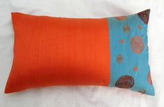 Retro Circles rectangle cushion cover in orange and blue...