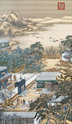 Giuseppe Castiglione's Chinese Paintings - Vision Times Chinese Landscape Painting, Landscape Paintings, Art Chinois, Hand Painted Wallpaper, Art Asiatique, Art Japonais, Art Nouveau, Chinese Architecture, China Painting