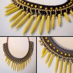 Collier-plastron ethnique en coton ciré marron foncé, perles dorées et pierres jaunes <3 https://www.etsy.com/listing/230708468/collier-jaune-tisse-main-coton-cire-et?ref=shop_home_active_16