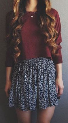 #fall #fashion /burgundy knit + skirt