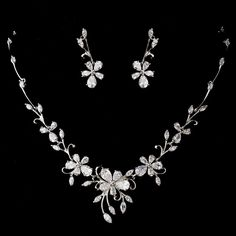 Silver Clear Cubic Zirconia Necklace Earring Set 1271