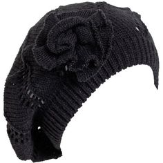 Black Beautiful Knit Beret with Silver Lurex ($1,290) ❤ liked on Polyvore featuring accessories, hats, knit beret hat, silver hat, beret hat, knit beret and knit hat