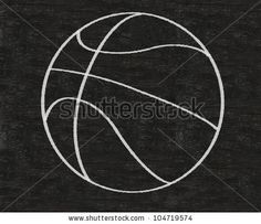 basketball written on blackboard background high resolution, easy to use - stock photo