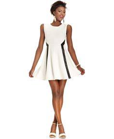 Sweet summer white with a bit of faux leather detailing. Bar III | #Dress #bariii