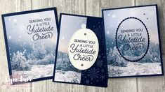 Feels Like Frost - 3 Simple Card Ideas Christmas Gift Card Holders, Christmas Tree Cards, Stampin Up Christmas, Xmas Cards, Holiday Cards, Christmas 2019, Thanksgiving Cards, Purple Cards, Beautiful Christmas Cards