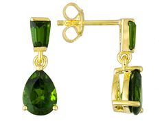 2.51ctw Pear Shape And Baguette Chrome Diopside 18k Gold Over Silver D