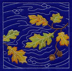"Sashiko Oak Leaves Square Product ID: D8239 Size: 5.83""(w) x 5.85""(h) (148 x 148.6 mm) Color Changes: 9 Stitches: 28925 Colors Used: 8"