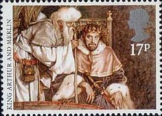 Arthurian Legends Stamp King Arthur and Merlin Royal Mail Stamps, Uk Stamps, Love Stamps, Postage Stamps, Legend Of King, Egyptian Women, King Of The World, Fb Covers, Penny Black