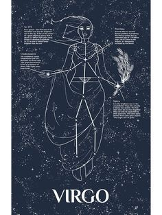 Horoscope Signs : Picture Description Virgo constellation- stars and lined in black, silhouette and details overlaid in watercolor? Virgo symbol somewhere in the mix? Virgo Art, Virgo Sign, Zodiac Art, Astrology Zodiac, Astrology Signs, Zodiac Signs, Astrology Compatibility, Virgo And Virgo, Astrology Houses