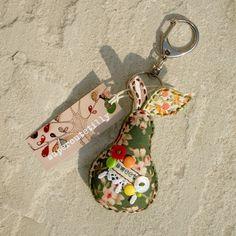 fabric pear key chain
