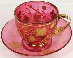 Pink  Gold Glass Teacup