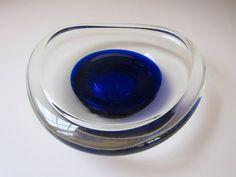 Mid century deco era cobalt blue glass ashtray by runawayvintage