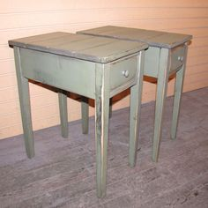 One Distressed Shaker End Table With Drawewr - Rustic Cottage Style -color…