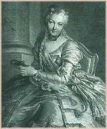 Portrait de Charlotte Gaucher de Mouchy, comtesse d'Herouville, en habit de Bal, avec un masque, 1746 par Pierre-Louis Surugue, d'après Charles-Antoine Coypel