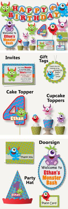 Monster Birthday Party Theme Decorations - Invitations, Cake Topper, Party Favors, Table Centerpiece, Banner, Invites #bcpaperdesigns #birthdayparty