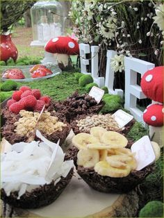 Woodland Fairy Party. Healthy food picking foods and organic. A way to beautify your party but still make it healthy.