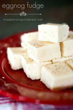 An Eggnog Fudge Recipe is that smooth and creamy with just the right amount of eggnog flavor # DESSERTS FRUIT Fudge Recipes, Candy Recipes, Holiday Recipes, Dessert Recipes, Eggnog Fudge, Eggnog Recipe, Christmas Cooking, Christmas Desserts, Christmas Treats