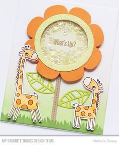 Hi all! I want to share my card for My Favorite Things May New Release Countdown Day 2! I made a flower shaker card with 2 cute giraffe, t...