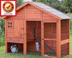 DELUXE 2 Story LARGE Chicken Coop Rabbit Hutch Animal Cage w/ Run Weather Proof