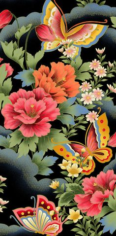 FLOWERS AND BUTTERFLIES *
