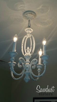 Diy brass chandelier makeover on the cheap chalk paint redeaux diy chandelier makeover sawdust sisters aloadofball Choice Image