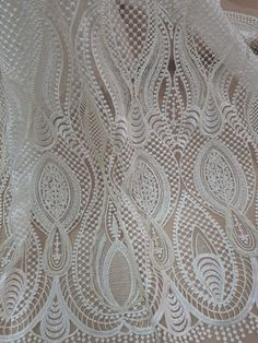 Cream lace with pearls, Ivory wedding lace fabric, wedding dress pointed meterware, Wedding Fabric, Ivory Wedding, Wedding Dress, White Leaf, Purple Lace, Watercolor Pattern, Lace Weddings, French Lace, Bridal Lace