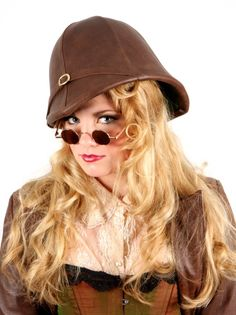 Brown Leather Pith Helmet.