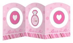Bride 2 Be Dots Centerpiece - 27 inches long and 9 inches tall, highlighted with 3 hanging images.