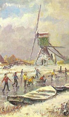 Molen, Schaatsers en Winter. Pieter Moleveld, Voetschilder, Periode : 1980 tot heden