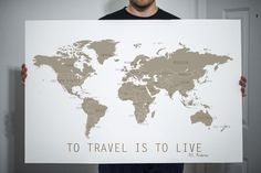 World Map with Travel Quote To Travel is to Live by Jivana on Etsy