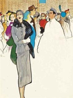 By René Gruau, ca 1950, Manhattan Rush-Hour, gouache and pencil.