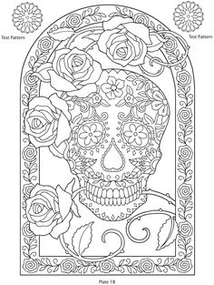 Day of the Dead, dia de los muertos, Sugar Skull, Coloring pages colouring adult detailed advanced printable Kleuren voor volwassenen coloriage pour adulte anti-stress kleurplaat voor volwassenen Line Art Black and White Welcome to Dover Publications Art Lessons, Skull Coloring Pages, Skull, Sugar Skull, Dover Publications, Color Me, Coloring Pages, Color, Prints